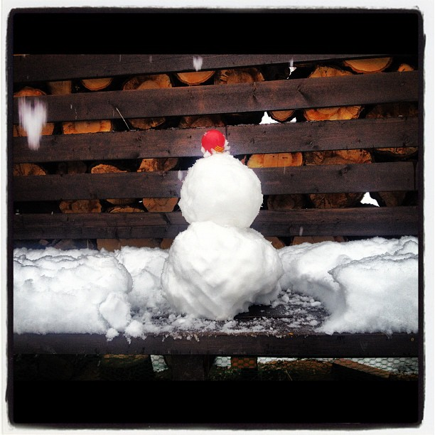 snowman薪棚ベンチに積もった雪で 雪だるまをつくったら!
