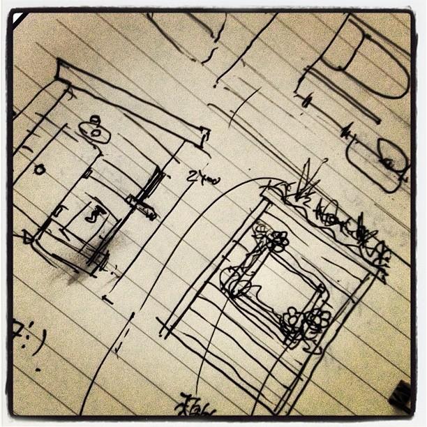 toilet 小屋のよこにトイレをつくる(^^) 取り敢えずラフ描いてみたので ここから寸法出して 図面に。必要な材料も割り出してと(^^) えが稚拙でわかりづらいが 屋根は草を生やして緑化する予定。