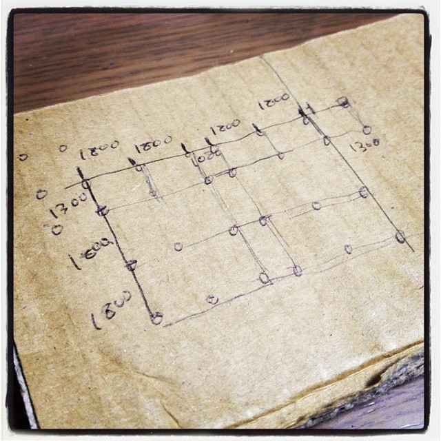 draw a plan ウッドデッキ施工のために精巧な図面を起こしてみた^^;