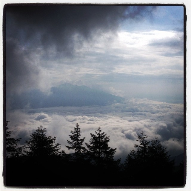 field of clouds 早朝 入笠山までドライブ^^ 途中雲を抜けたら 眼下に雲海がひろがっていた^^ 久しぶりの入笠山では 学生時代からの仲間が十数人^^ ひと時 楽しかった^^