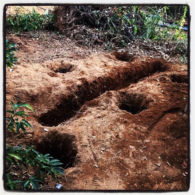 foundation hole トイレ棟の基礎穴堀が続いています^^排水管を通す穴も掘って。nagasaka*base辺りの凍結深度は40センチぐらいなので 一応50-60センチほどの深さの穴を掘っておけばまず安心^^
