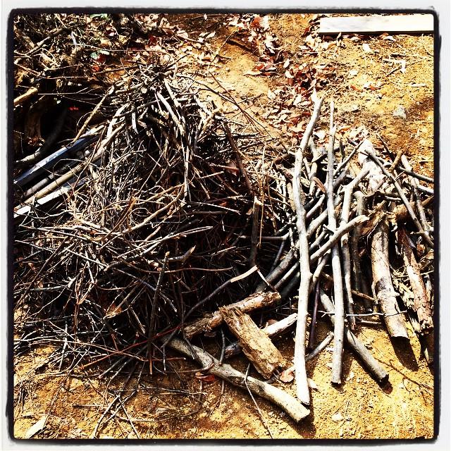 lightwood nagasaka*baseの敷地内で伐採した木々が山積みになっていて それを少しづつ地道に焚きつけようにしています^^ なかなか減らない^^;