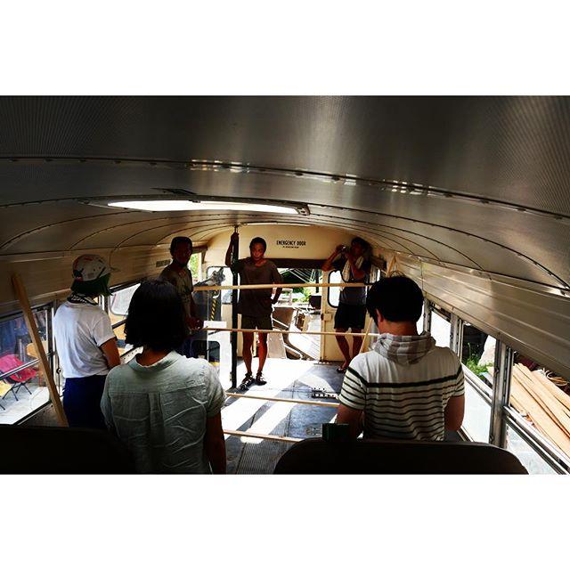 meeting シートを外したバスの中で 実測しながら内装の打ち合わせが進んでいます^^ #mountainmountain #nagasakabase #そんなあなたはスパイシー #mountainlife  #8mountainworks